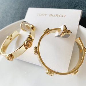 Tory Burch Signature Gold Hoop Earrings